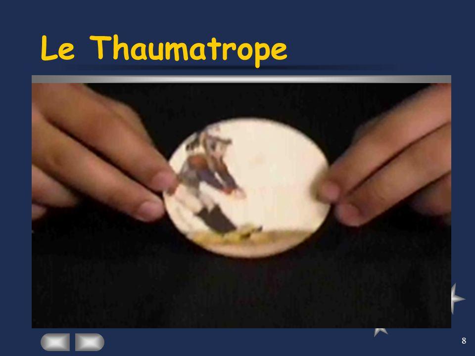 8 Le Thaumatrope En 1820, deux Anglais Fritton et Paris inventent un jouet qu'ils appellent le thaumatrope, c'est- à-dire le « prodige tournant ». Il