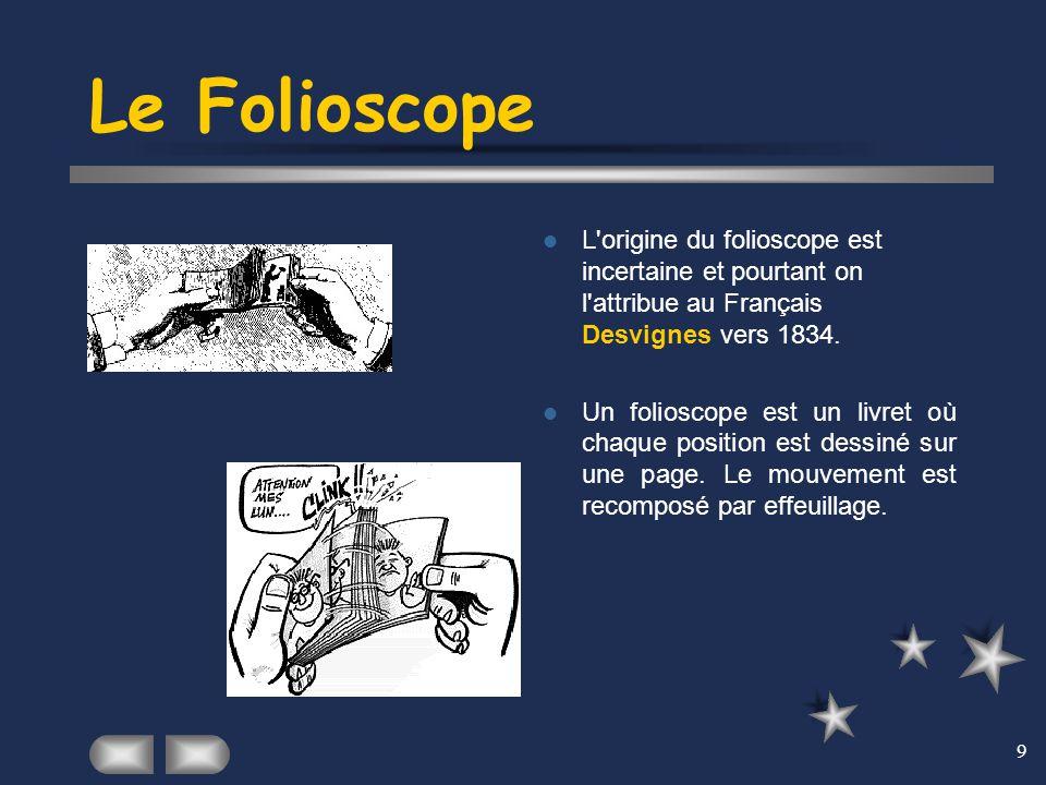 9 Le Folioscope L'origine du folioscope est incertaine et pourtant on l'attribue au Français Desvignes vers 1834. Un folioscope est un livret où chaqu