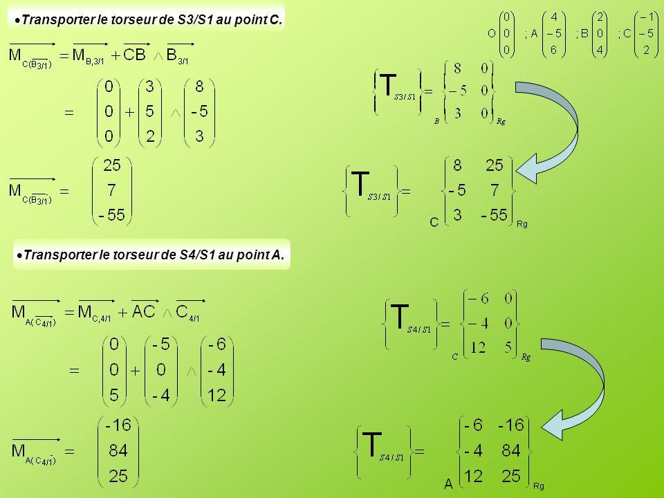  Transporter le torseur de S3/S1 au point C.  Transporter le torseur de S4/S1 au point A.