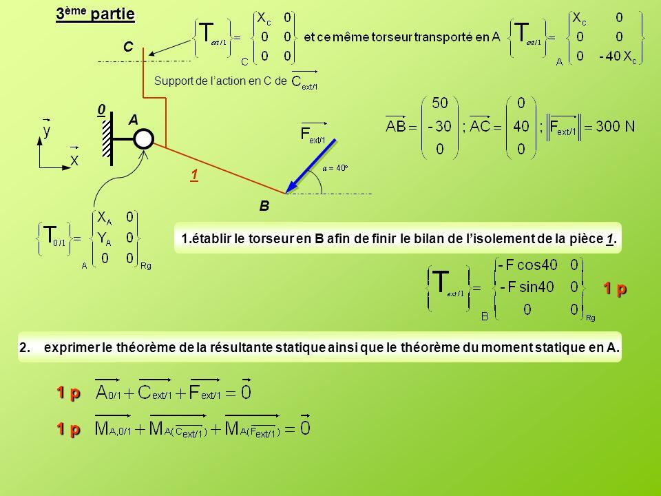 3 ème partie A B C Support de l'action en C de 1 0 1.établir le torseur en B afin de finir le bilan de l'isolement de la pièce 1. 2.exprimer le théorè