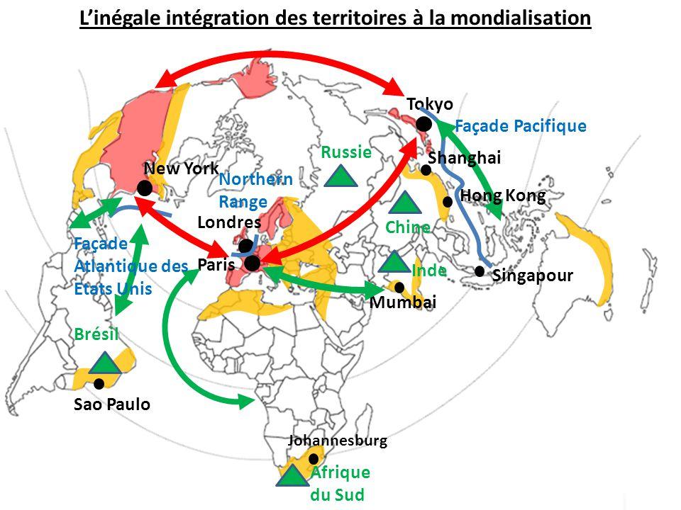 L'inégale intégration des territoires à la mondialisation Paris Londres Tokyo Northern Range Inde Chine Brésil Russie Afrique du Sud Sao Paulo Johanne