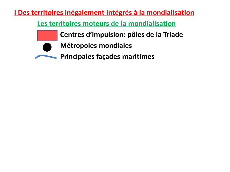 I Des territoires inégalement intégrés à la mondialisation Les territoires moteurs de la mondialisation Centres d'impulsion: pôles de la Triade Métrop