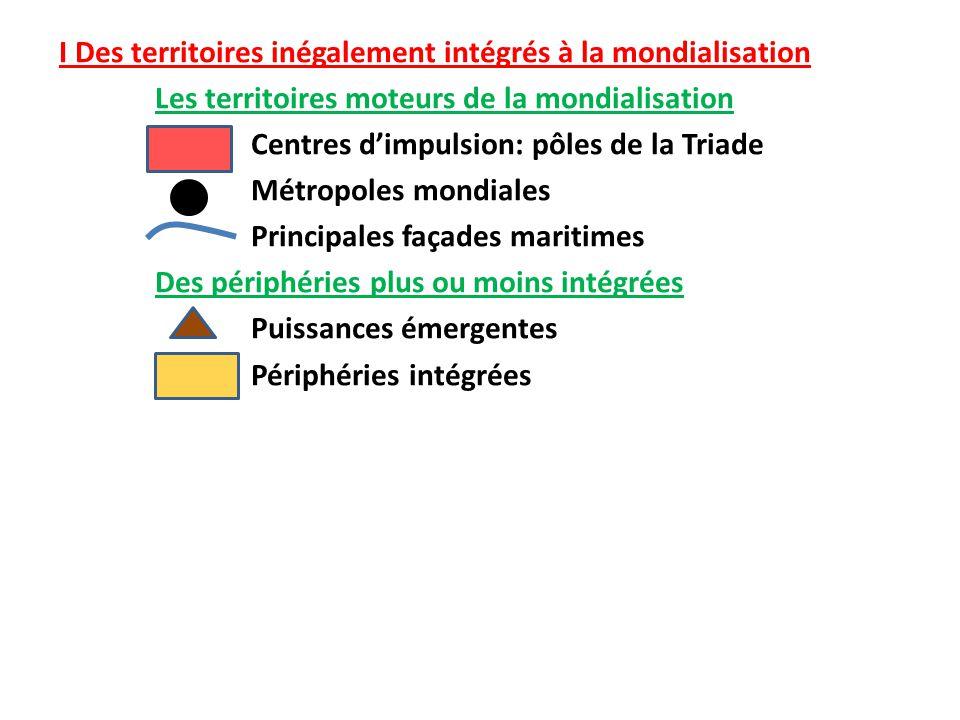 L'inégale intégration des territoires à la mondialisation Paris Londres New York Tokyo Façade Atlantique des Etats Unis Northern Range Façade Pacifique Inde Chine Brésil Russie Afrique du Sud