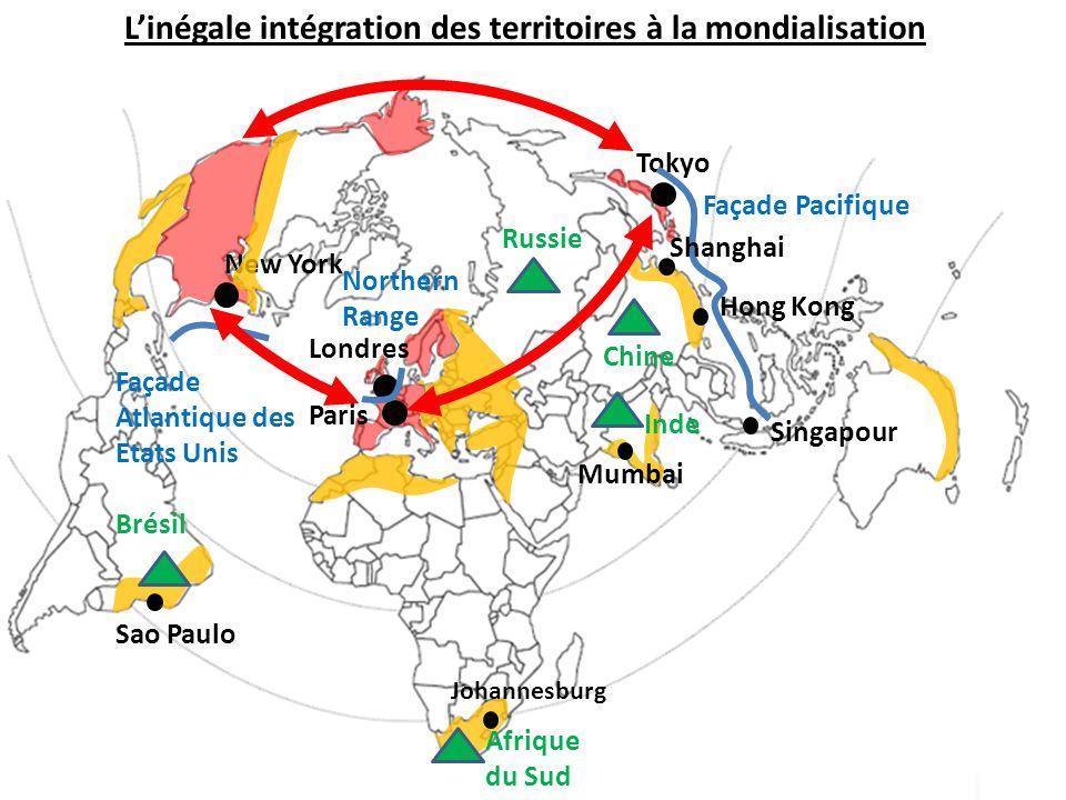 L'inégale intégration des territoires à la mondialisation Paris Londres New York Tokyo Façade Atlantique des Etats Unis Northern Range Façade Pacifiqu