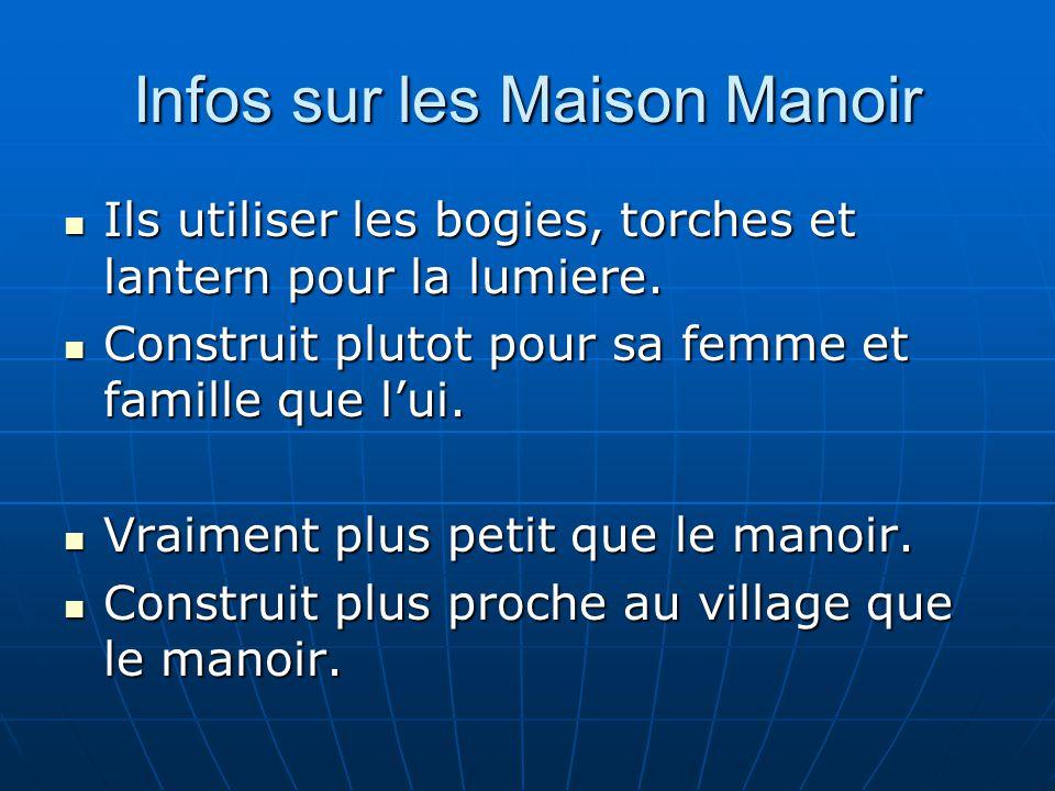 Infos sur les Maison Manoir Ils utiliser les bogies, torches et lantern pour la lumiere. Ils utiliser les bogies, torches et lantern pour la lumiere.