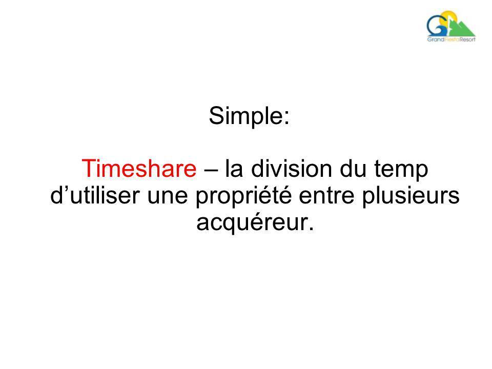 Simple: Timeshare – la division du temp d'utiliser une propriété entre plusieurs acquéreur.