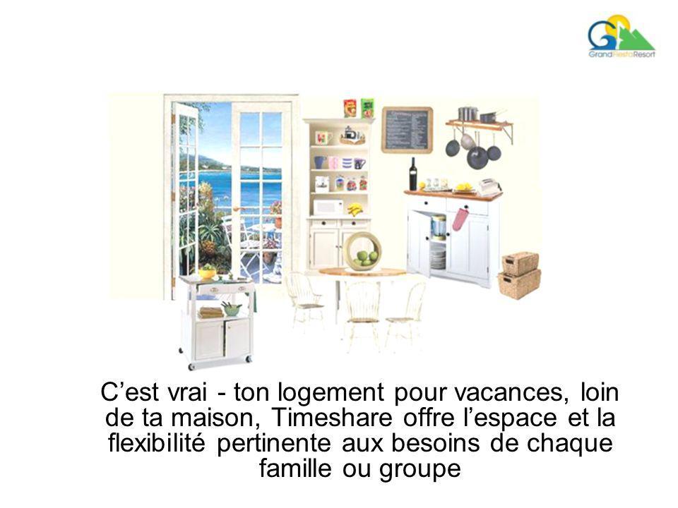 C'est vrai - ton logement pour vacances, loin de ta maison, Timeshare offre l'espace et la flexibilité pertinente aux besoins de chaque famille ou groupe
