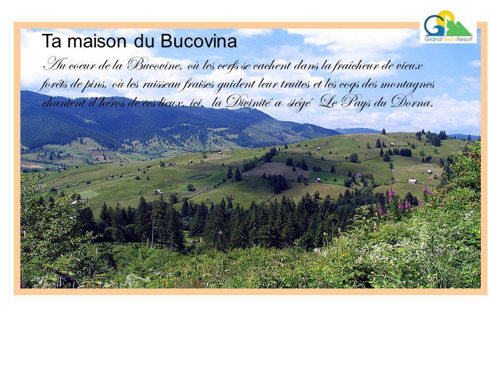 Ta maison du Bucovina Au coeur de la Bucovine, où les cerfs se cachent dans la fraîcheur de vieux forêts de pins, où les ruisseau fraises guident leur truites et les coqs des montagnes chantent d'héros de ces lieux, ici, la Divinité a siégé Le Pays du Dorna.