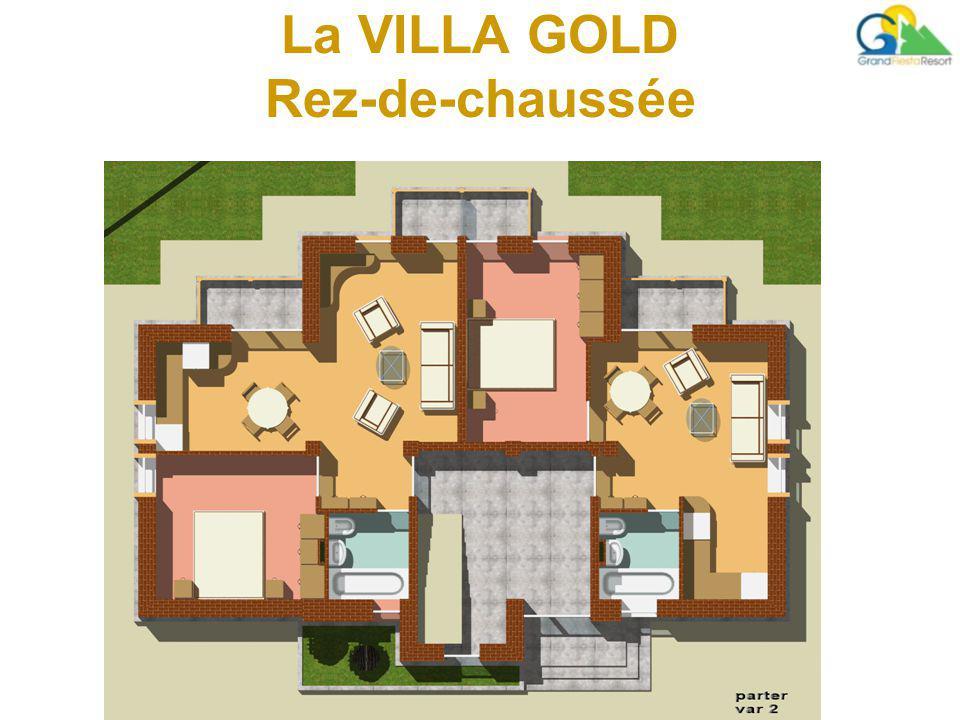 La VILLA GOLD Rez-de-chaussée chambre, cuisine, espace pour dîner, salon, hall, salle de bains et balcon.