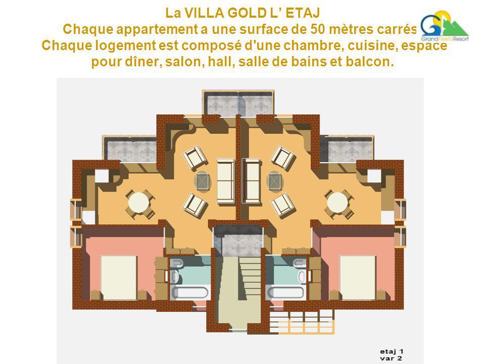 La VILLA GOLD L' ETAJ Chaque appartement a une surface de 50 mètres carrés.