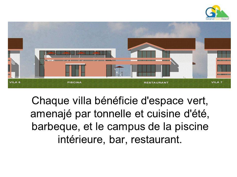 Chaque villa bénéficie d espace vert, amenajé par tonnelle et cuisine d été, barbeque, et le campus de la piscine intérieure, bar, restaurant.