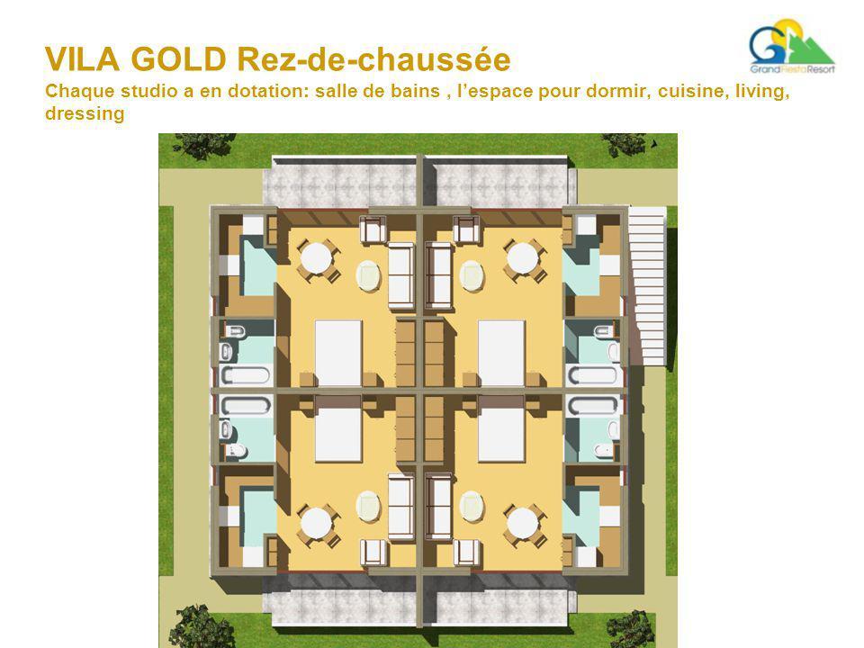 VILA GOLD Rez-de-chaussée Chaque studio a en dotation: salle de bains, l'espace pour dormir, cuisine, living, dressing