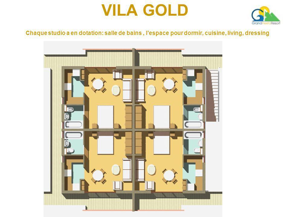 VILA GOLD Chaque studio a en dotation: salle de bains, l'espace pour dormir, cuisine, living, dressing