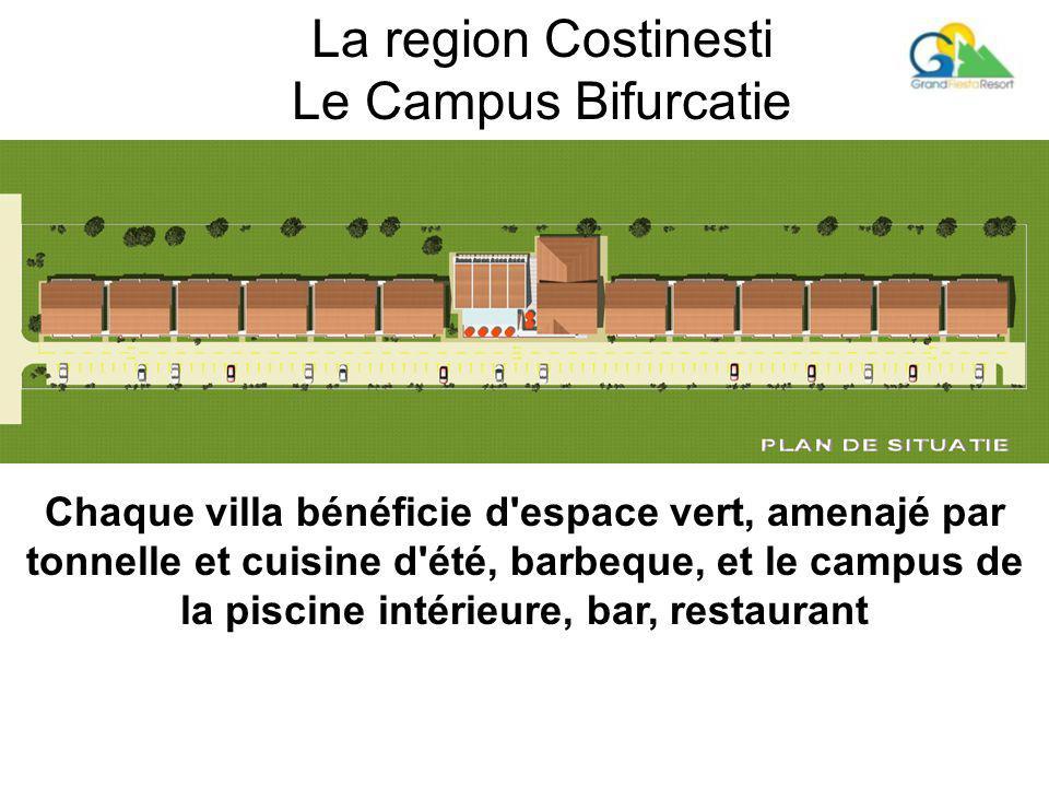 La region Costinesti Le Campus Bifurcatie Chaque villa bénéficie d espace vert, amenajé par tonnelle et cuisine d été, barbeque, et le campus de la piscine intérieure, bar, restaurant