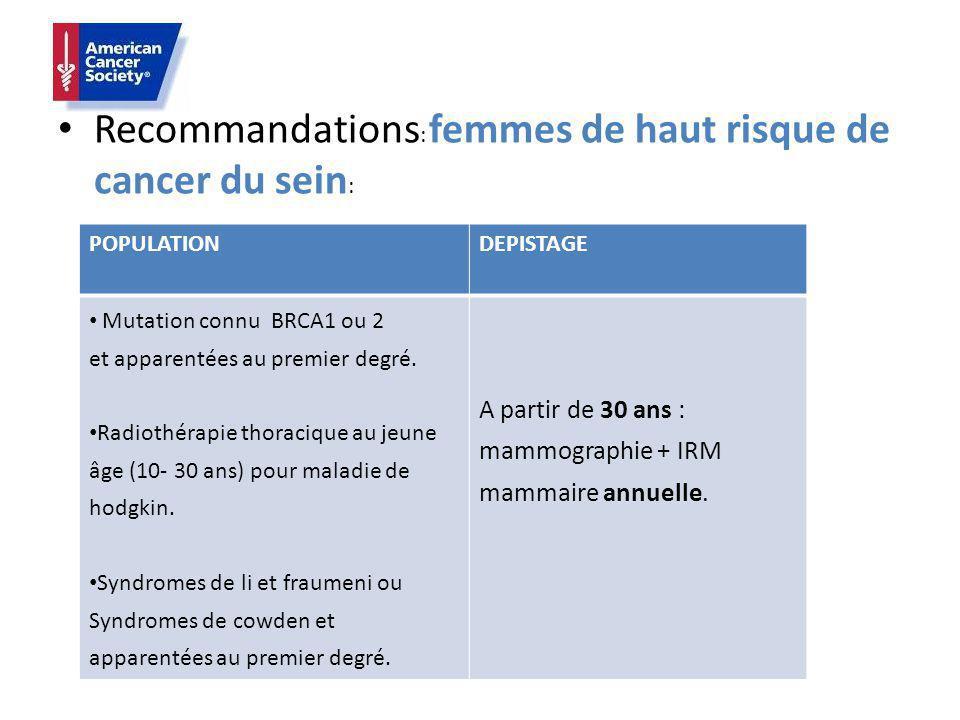 Recommandations : femmes de haut risque de cancer du sein : POPULATIONDEPISTAGE Mutation connu BRCA1 ou 2 et apparentées au premier degré.