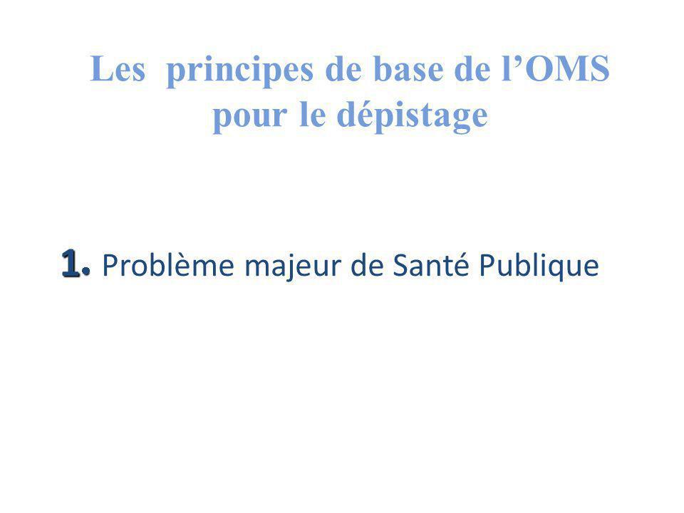 Les principes de base de l'OMS pour le dépistage 1 1 Problème majeur de Santé Publique