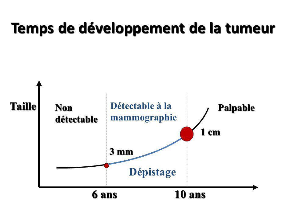 Temps de développement de la tumeur Taille Non détectable Détectable à la mammographie Palpable 3 mm 1 cm Dépistage 6 ans 10 ans