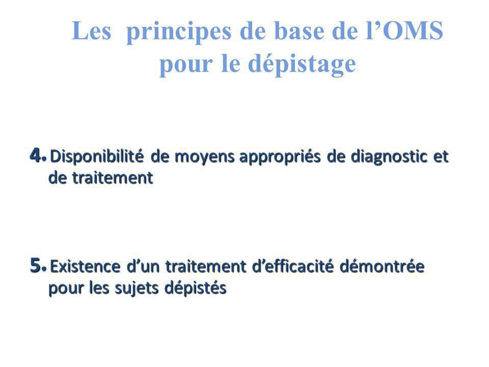Les principes de base de l'OMS pour le dépistage 4 Disponibilité de moyens appropriés de diagnostic et de traitement 5 Existence d'un traitement d'efficacité démontrée pour les sujets dépistés