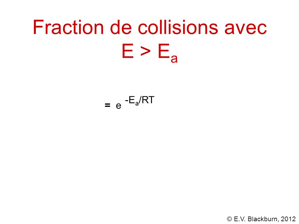 © E.V. Blackburn, 2012 = e -E a /RT Fraction de collisions avec E > E a