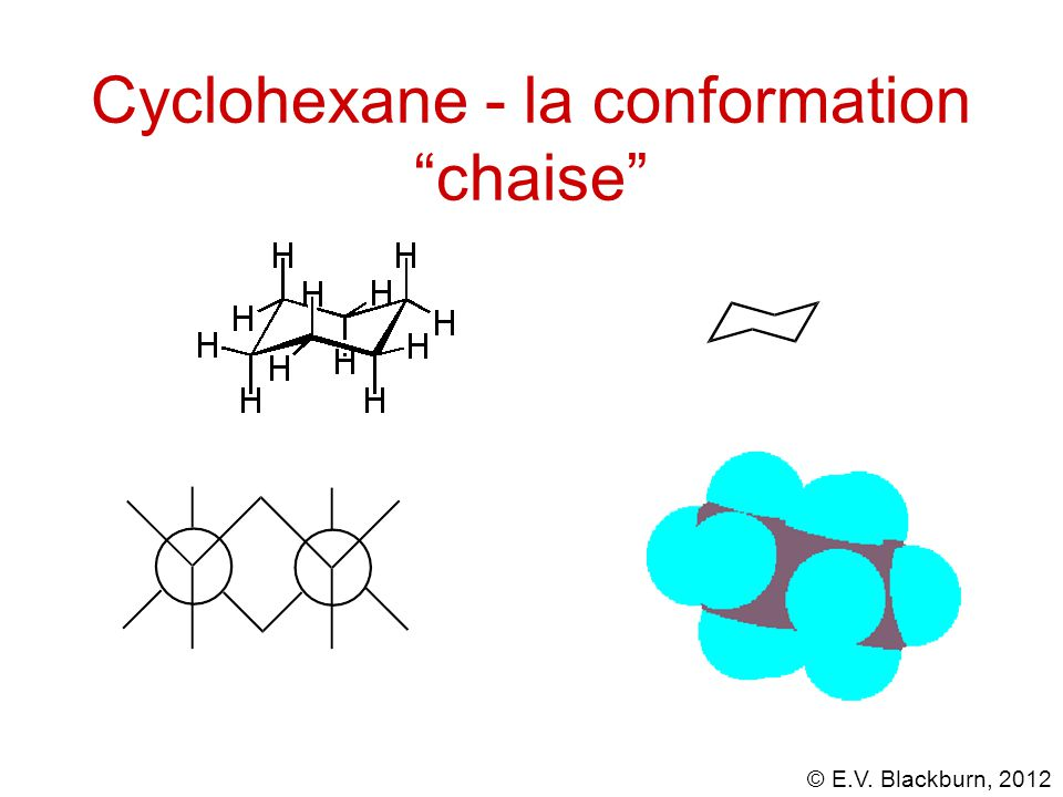 "© E.V. Blackburn, 2012 Cyclohexane - la conformation ""chaise"""