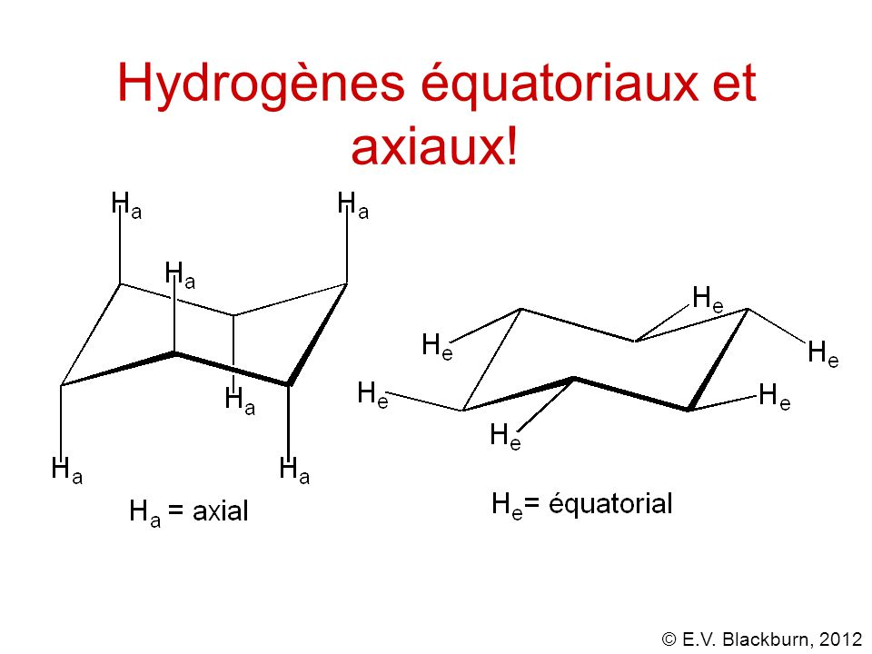 © E.V. Blackburn, 2012 Hydrogènes équatoriaux et axiaux!