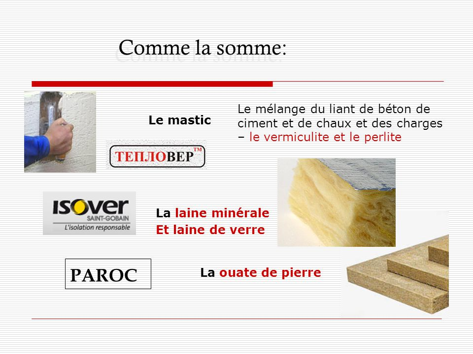 Comme la somme: Le mélange du liant de béton de ciment et de chaux et des charges – le vermiculite et le perlite Le mastic PAROC La laine minérale Et laine de verre La ouate de pierre