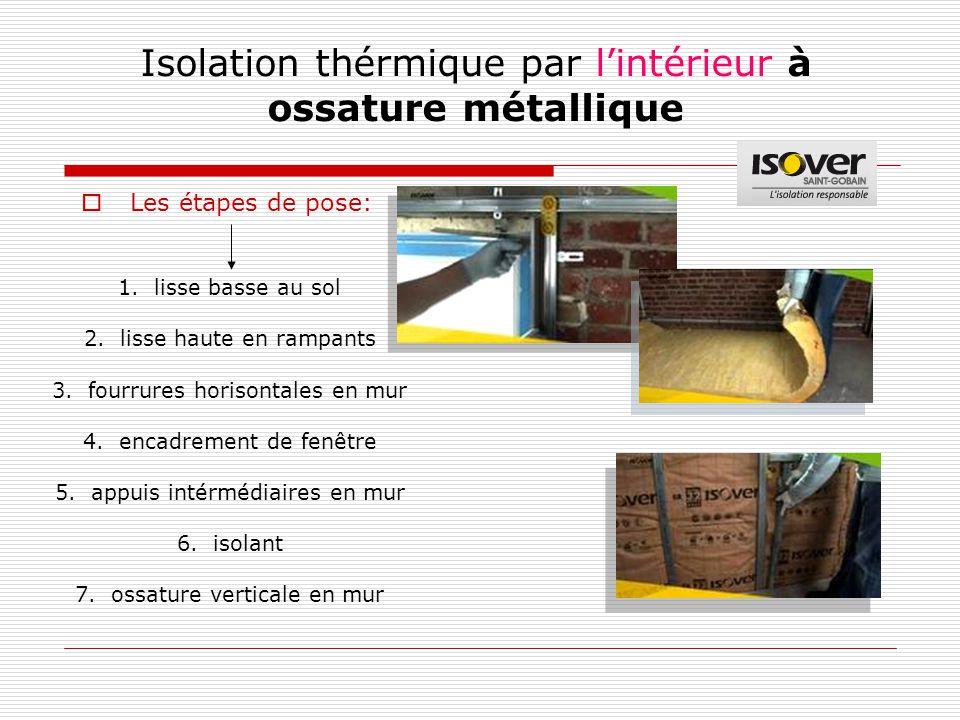 Isolation thérmique par l'intérieur à ossature métallique 1.lisse basse au sol 2.lisse haute en rampants 3.fourrures horisontales en mur 4.encadrement