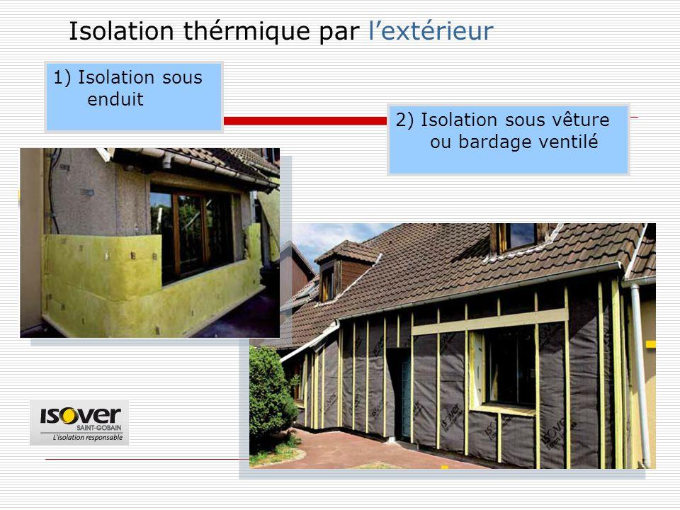 Isolation thérmique par l'extérieur 2) Isolation sous vêture ou bardage ventilé 1) Isolation sous enduit