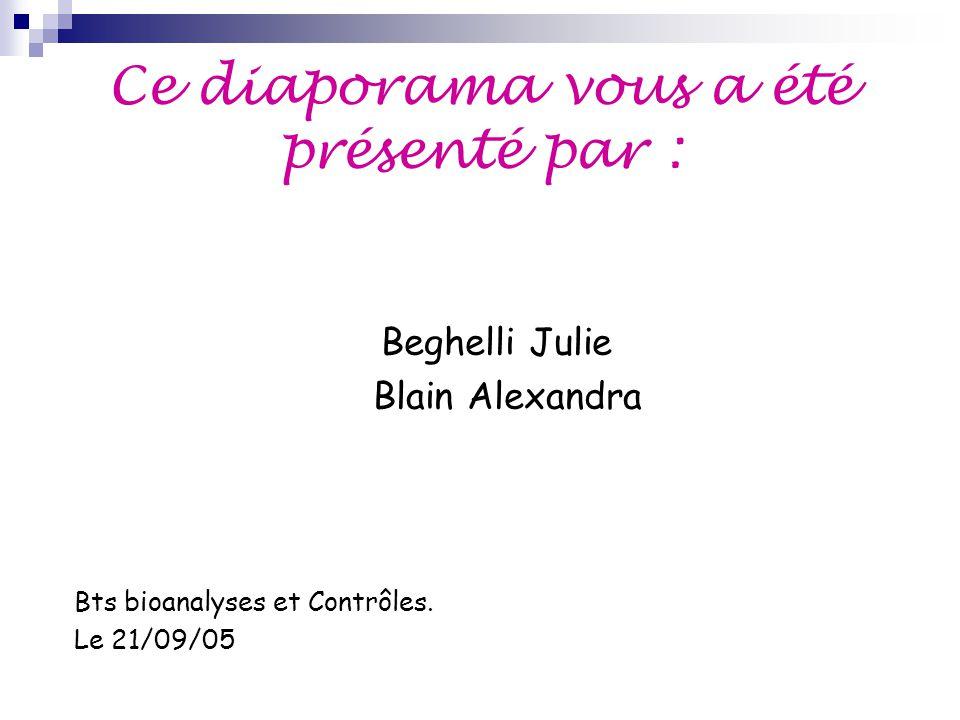 Ce diaporama vous a été présenté par : Beghelli Julie Blain Alexandra Bts bioanalyses et Contrôles. Le 21/09/05
