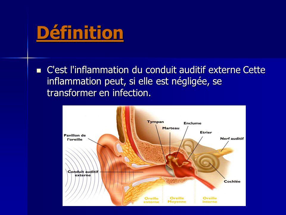 Définition C'est l'inflammation du conduit auditif externe Cette inflammation peut, si elle est négligée, se transformer en infection. C'est l'inflamm