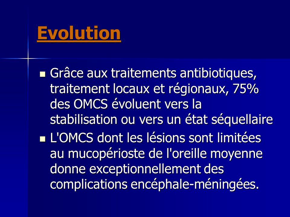 Evolution Grâce aux traitements antibiotiques, traitement locaux et régionaux, 75% des OMCS évoluent vers la stabilisation ou vers un état séquellaire