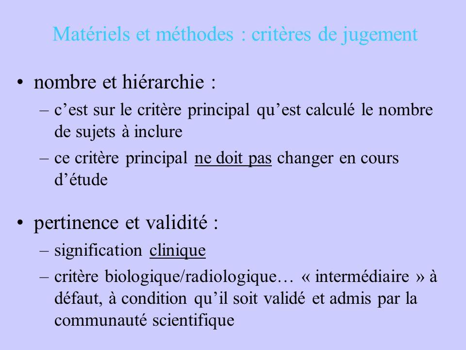 Matériels et méthodes : critères de jugement nombre et hiérarchie : –c'est sur le critère principal qu'est calculé le nombre de sujets à inclure –ce c