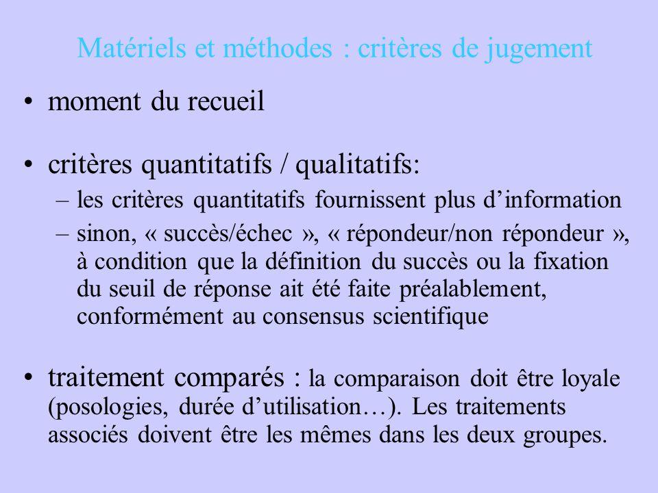 Matériels et méthodes : critères de jugement moment du recueil critères quantitatifs / qualitatifs: –les critères quantitatifs fournissent plus d'info