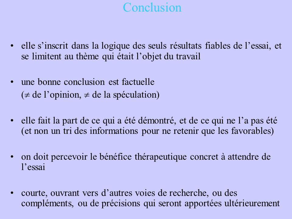 Conclusion elle s'inscrit dans la logique des seuls résultats fiables de l'essai, et se limitent au thème qui était l'objet du travail une bonne concl