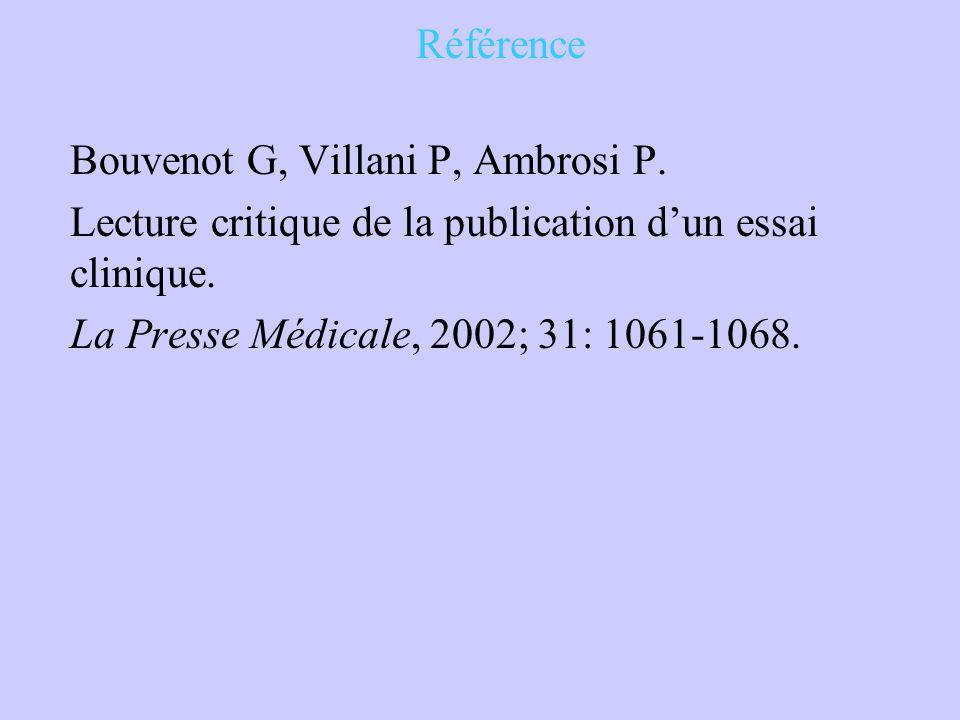 Référence Bouvenot G, Villani P, Ambrosi P. Lecture critique de la publication d'un essai clinique. La Presse Médicale, 2002; 31: 1061-1068.