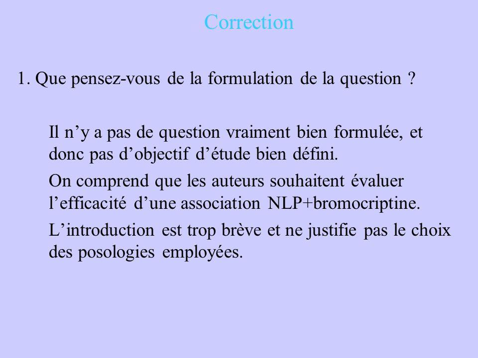 Correction 1. Que pensez-vous de la formulation de la question ? Il n'y a pas de question vraiment bien formulée, et donc pas d'objectif d'étude bien