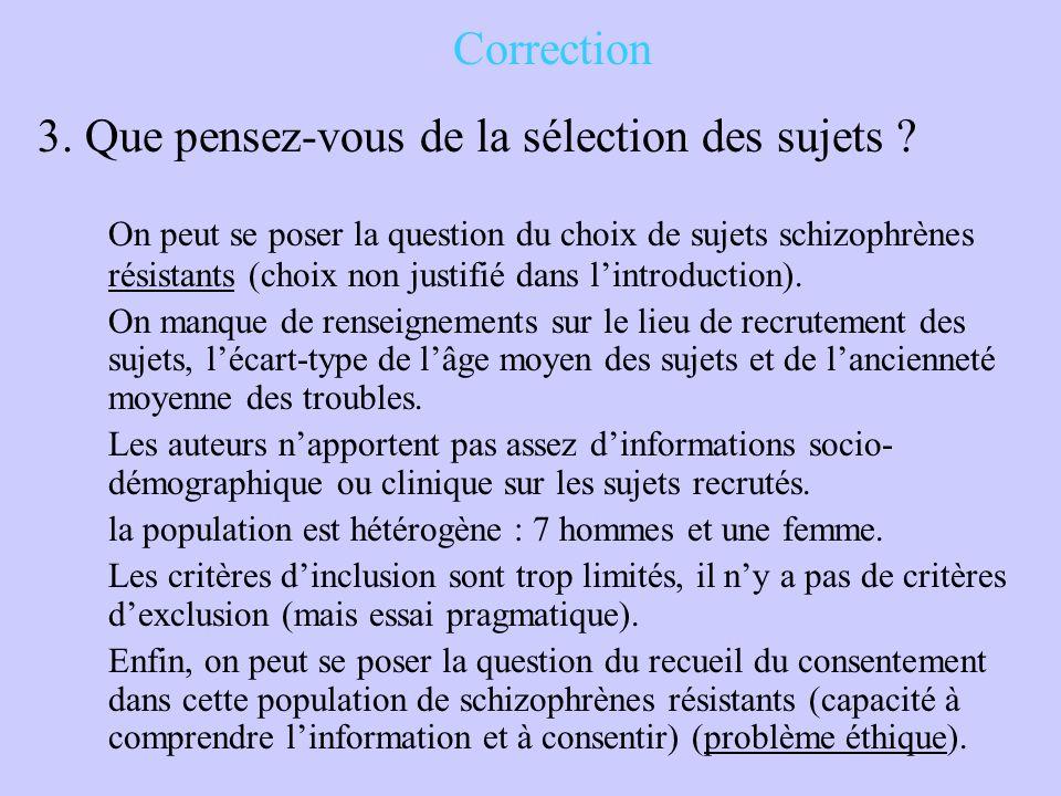 Correction 3. Que pensez-vous de la sélection des sujets ? On peut se poser la question du choix de sujets schizophrènes résistants (choix non justifi