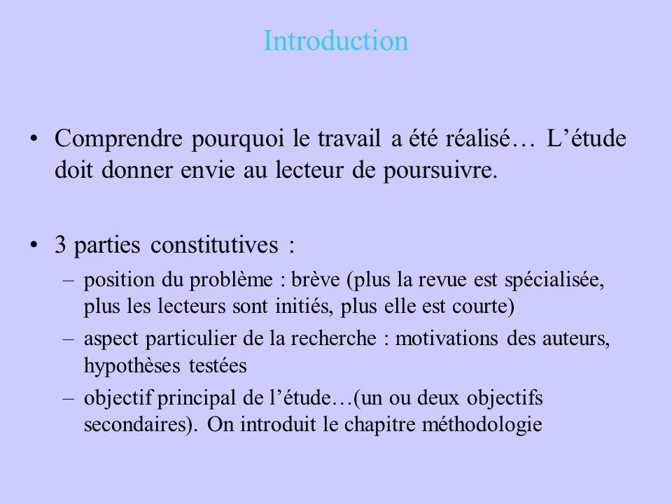 Introduction Comprendre pourquoi le travail a été réalisé… L'étude doit donner envie au lecteur de poursuivre. 3 parties constitutives : –position du