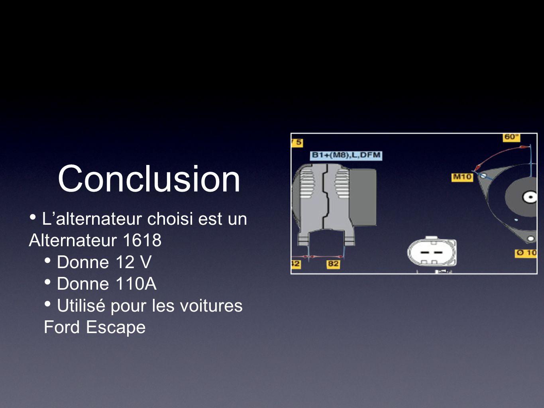 Conclusion L'alternateur choisi est un Alternateur 1618 Donne 12 V Donne 110A Utilisé pour les voitures Ford Escape