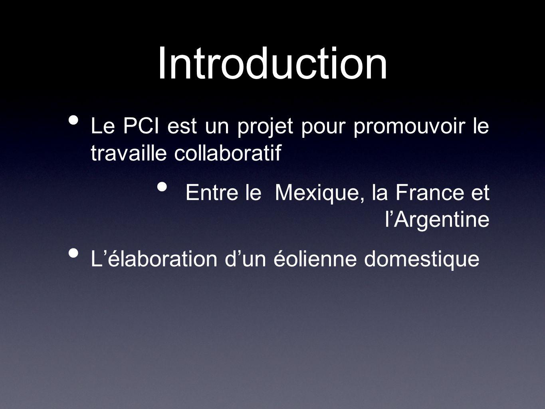 Le PCI est un projet pour promouvoir le travaille collaboratif Entre le Mexique, la France et l'Argentine L'élaboration d'un éolienne domestique Intro