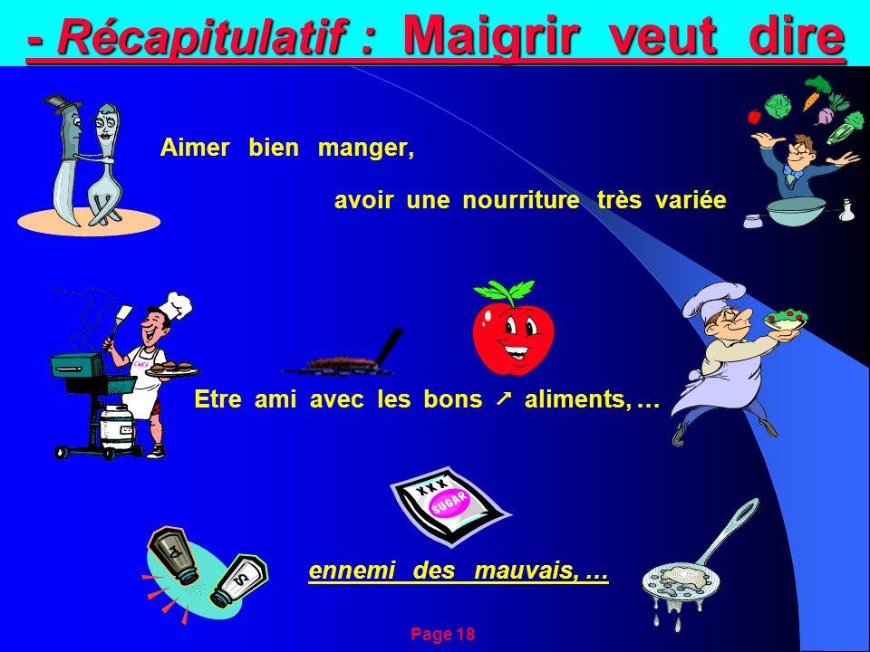 - Récapitulatif : Maigrir veut dire Aimer bien manger, avoir une nourriture très variée Etre ami avec les bons  aliments, … ennemi des mauvais, … Page 18