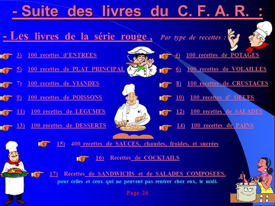 - Suite des livres du C. F. A. R. : - Les livres de la série rouge, Par type de recettes : 3) 100 recettes d'ENTREES 4) 100 recettes de POTAGES 5) 100