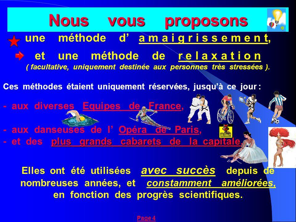Nous vous proposons une méthode d' a m a i g r i s s e m e n t, et une méthode de r e l a x a t i o n ( facultative, uniquement destinée aux personnes très stressées ).