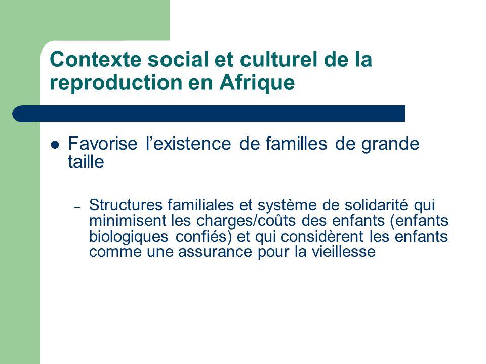 Contexte social et culturel de la reproduction en Afrique Favorise l'existence de familles de grande taille – Structures familiales et système de solidarité qui minimisent les charges/coûts des enfants (enfants biologiques confiés) et qui considèrent les enfants comme une assurance pour la vieillesse