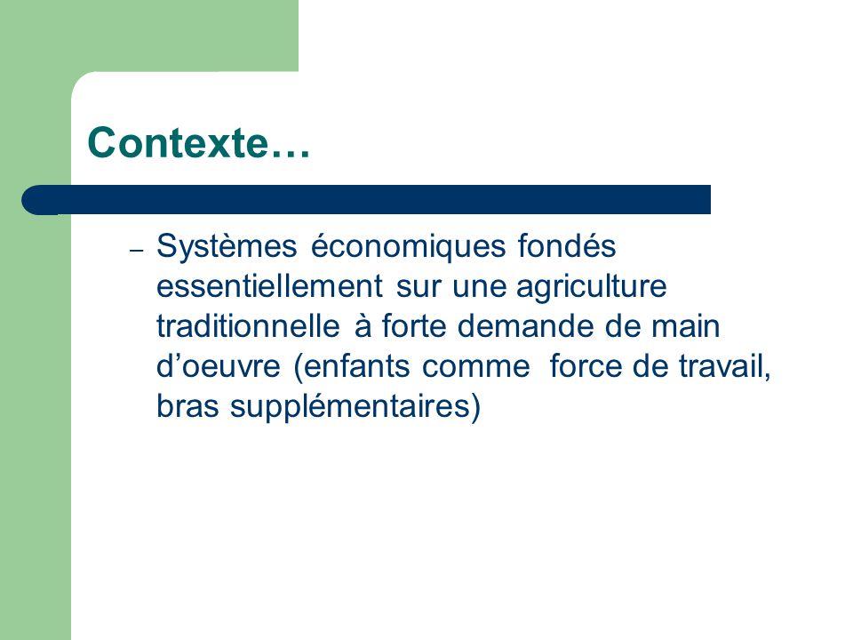 Contexte… – Systèmes économiques fondés essentiellement sur une agriculture traditionnelle à forte demande de main d'oeuvre (enfants comme force de travail, bras supplémentaires)