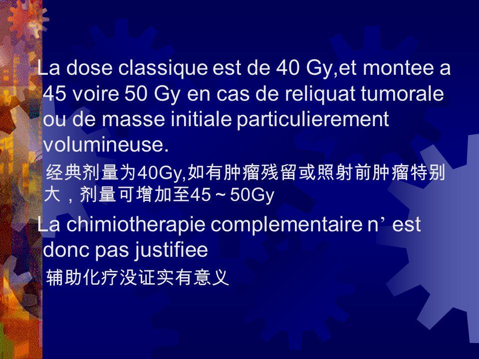 La dose classique est de 40 Gy,et montee a 45 voire 50 Gy en cas de reliquat tumorale ou de masse initiale particulierement volumineuse.