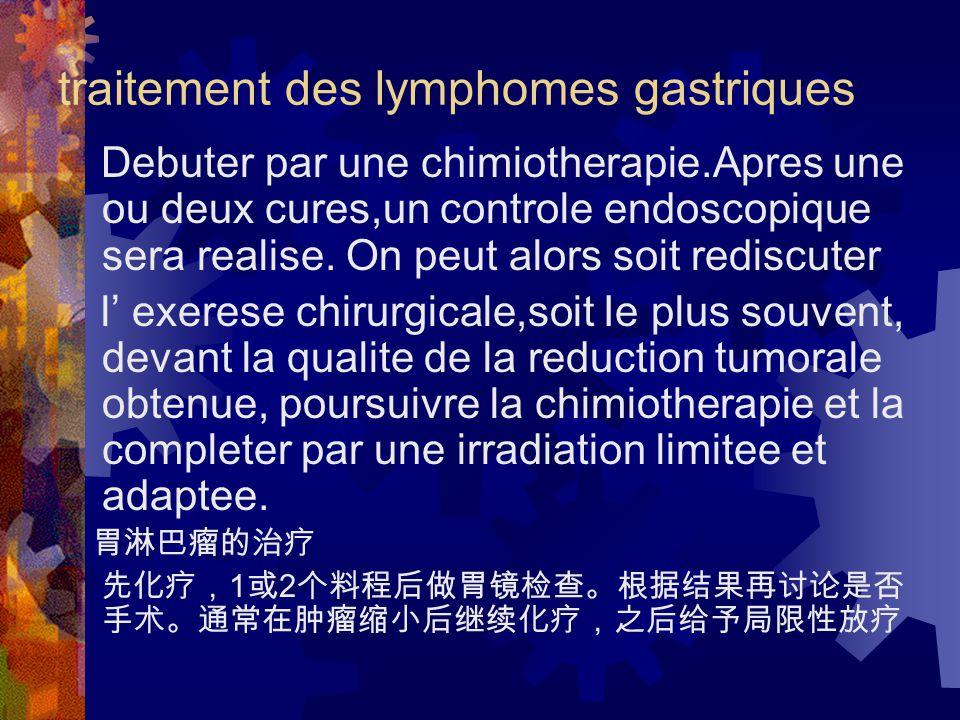 traitement des lymphomes gastriques Debuter par une chimiotherapie.Apres une ou deux cures,un controle endoscopique sera realise.