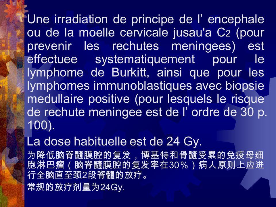 Une irradiation de principe de l' encephale ou de la moelle cervicale jusau a C 2 (pour prevenir les rechutes meningees) est effectuee systematiquement pour le lymphome de Burkitt, ainsi que pour les lymphomes immunoblastiques avec biopsie medullaire positive (pour lesquels le risque de rechute meningee est de l' ordre de 30 p.