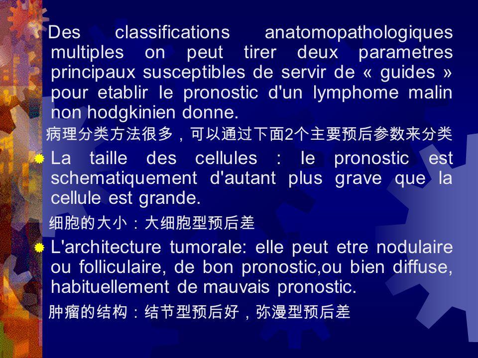  Cette classification peut etre completee par les les lettres A ou B: 以上的分期可通过 A 或 B 再细化。 A: absebce de signe clinique general d ' evolutivite B: presence d ' au moins de ces signes:Fievre, Sueurs nocturnes profuses, amaigrissement de plus de 10 p.100.Mais ces signes sont rares dans les LMNH et leur presence est loin d ' avoir la valeur pronostique qu ' elle a dans la maladie de Hodgkin A :没有临床疾病进展的症状 B :可表现下列症状,如发热、夜间盗汗、体重下降 10 %以 上。但这些症状在非霍奇金淋巴瘤较霍奇金少见,对预后 的影响不象霍奇金那么明显