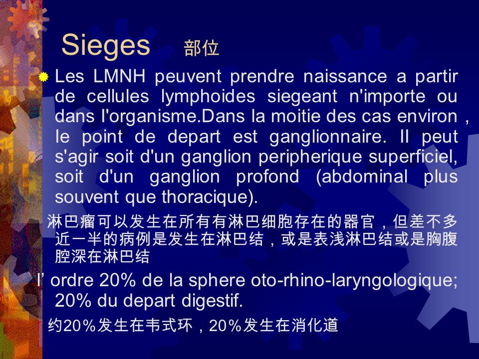 Sieges 部位  Les LMNH peuvent prendre naissance a partir de cellules lymphoides siegeant n importe ou dans I organisme.Dans la moitie des cas environ , Ie point de depart est ganglionnaire.